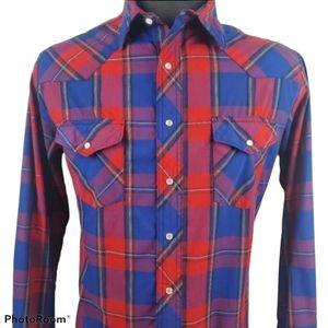 Wrangler Plaid Western Pearl Snap Shirt Size LT